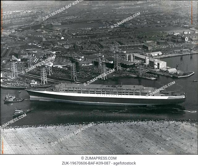 Jun. 06, 1967 - The Queen launches and names the new Cunard Liner 'Queen Elizabeth II'; This afternoon H.M. The Queen gave a name to the new Cunard liner when...