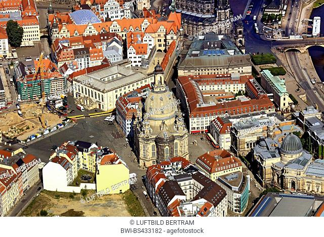 inner city of Dresen with Frauenkirche, 20.06.2016, aerial view, Germany, Saxony, Dresden