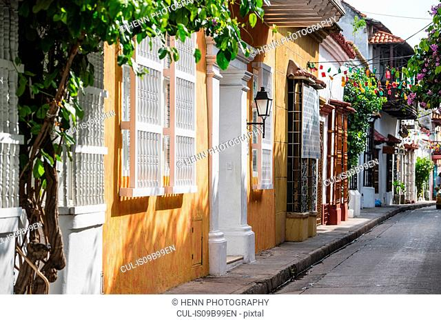 Street in the old town of Cartagena, Bolivar, Colombia, South America