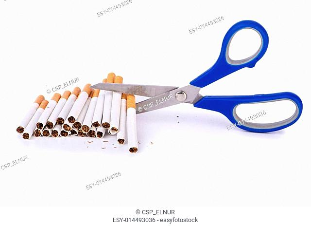 Antismoking concept with cigarettes and scissors