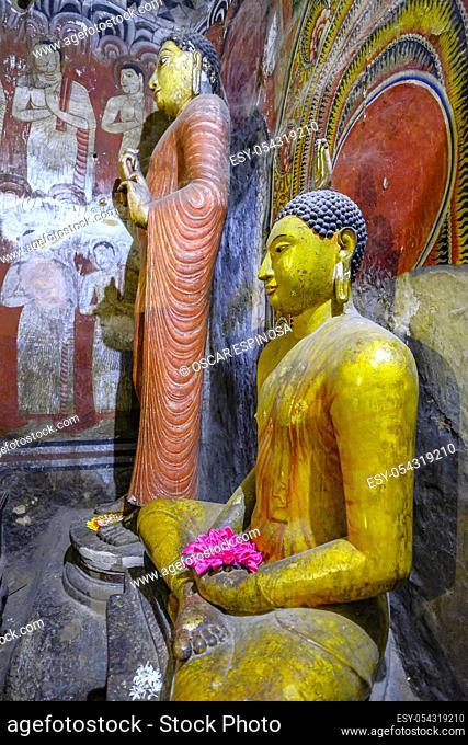 Dambulla, Sri Lanka - February 2020: Buddha statue inside Dambulla cave temple on February 8, 2020 in Dambulla, Sri Lanka. Cave I Devaraja Viharaya