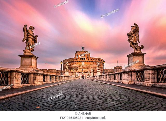 Ponte Sant'Angelo and Castel Sant'Angelo in the Morning, Rome, Italy