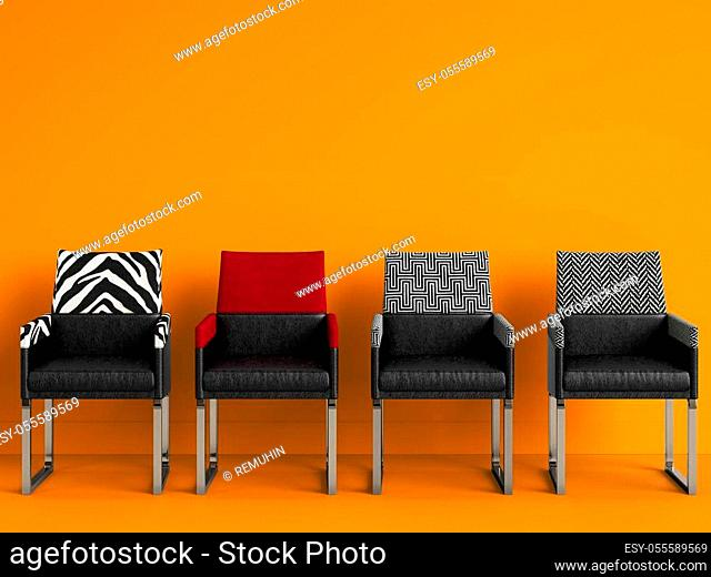 4 chairs in different colors in yellow room with copy space. Interior mockup. Digital illustration. 3d rendering