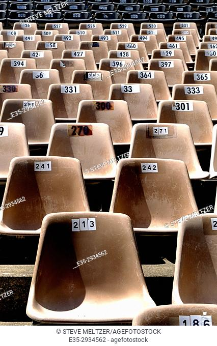 Rows of chairs at an outdoor theater in Pézenas, France
