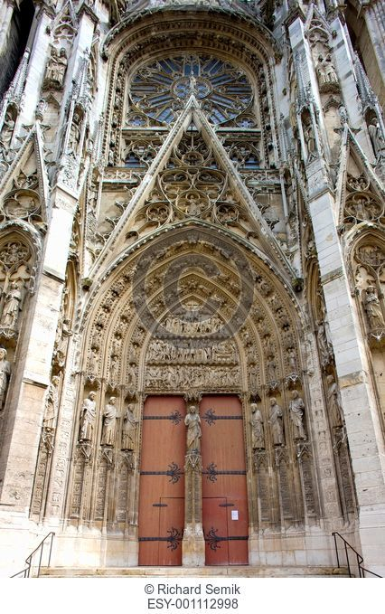 detail of Cathedral Notre Dame, Rouen, Normandy, France