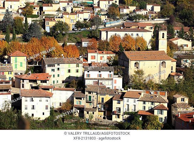 Village of Roquesteron, Vallée de l'Esteron, Alpes-Maritimes, Préalpes d'Azur regional natural park, Provence-Alpes-Côte d'Azur, France
