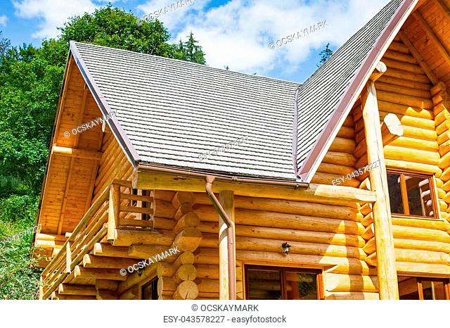 Wooden textured house construction in Transilvania, Romania