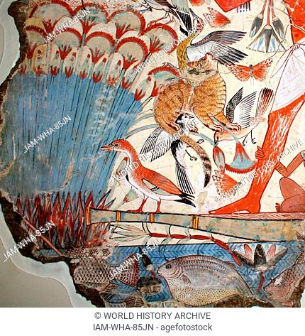 Nebamun hunting in the marshes. Nebamun is in a small boat, hunting birds with his wife Hatshepsut and their young daughter in the marshes of the Nile