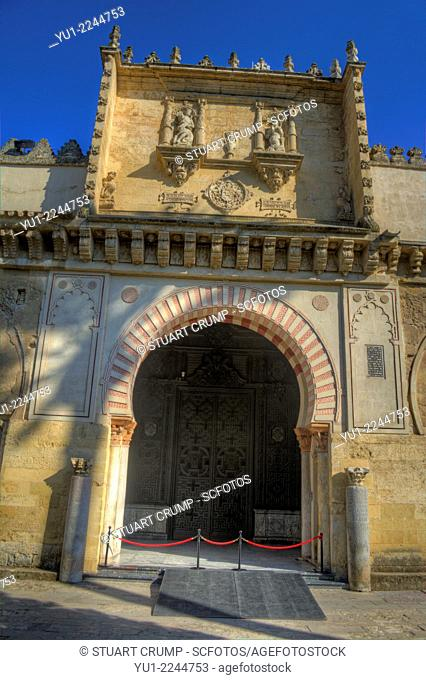 HDR of the Doorway to the Mosque–Cathedral of Córdoba, Córdoba, Spain