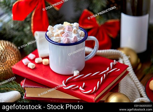 cup of whipped cream with marshmallow on christmas