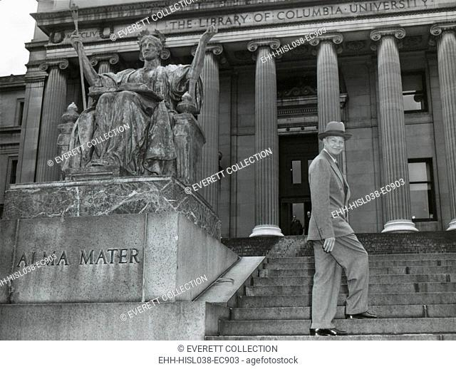 Gen. Dwight Eisenhower on the steps of Low Library of Columbia University. May 4, 1948. He was University's President from May 1948 until January 1953