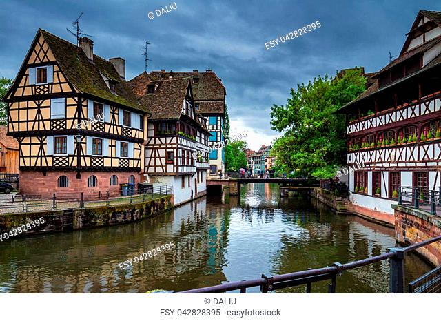 Quaint timbered houses of Petite France in Strasbourg, France. Franch traditional houses at Strasbourg, France