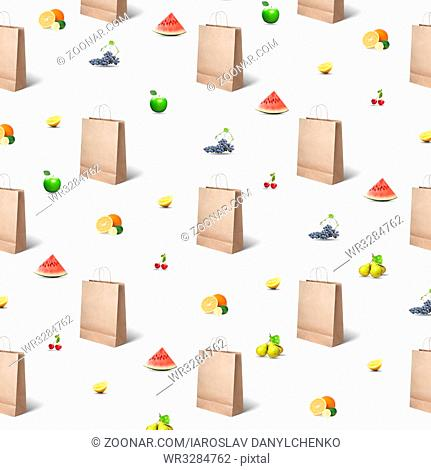 pattern of paper bags and various fruits and berries on a white background