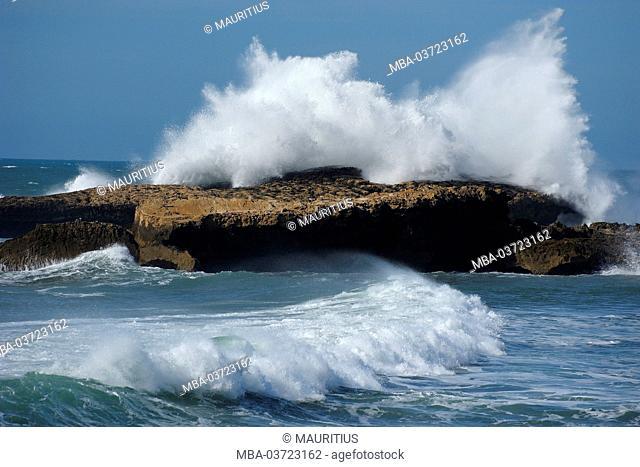 Sea, Atlantic Ocean, waves, coast, surf, close Essaouira (city), Atlantic coast, Morocco