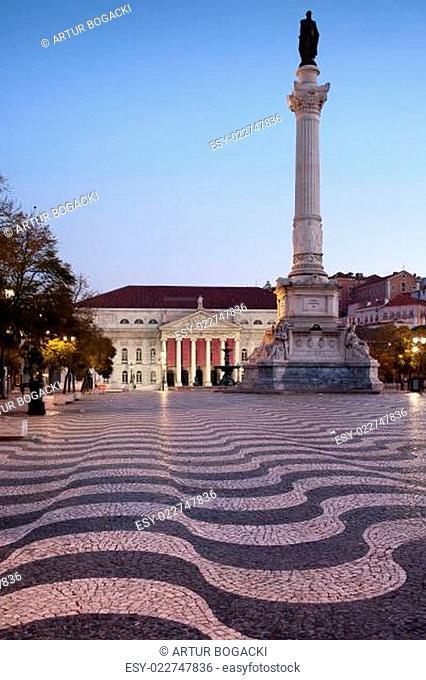 Rossio Square at Dawn in Lisbon