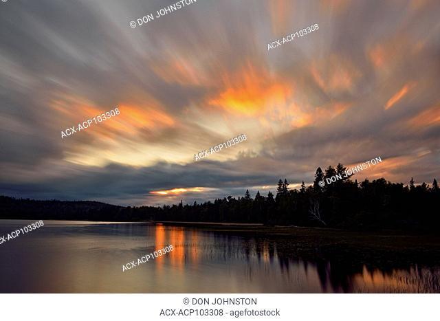 Evening sky over Halfway Lake, Halfway Lake Provincial Park, Ontario, Canada