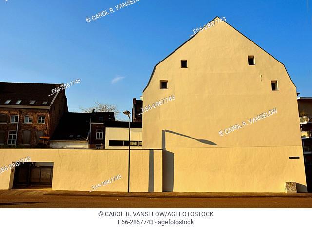 Side of building on the Hoge Barrakkan in Maastricht Ceramique neighbourhood. Building has been freshly painted