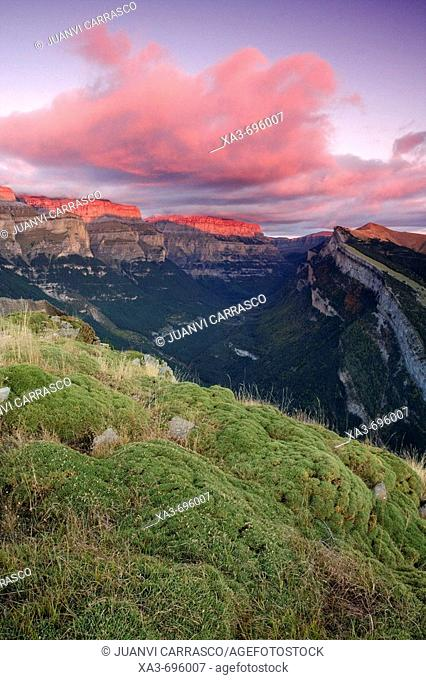 Afterglow in Ordesa National Park, Pyrenees Mountains, Spain