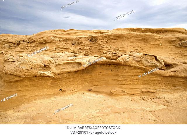 Fossil or fossilized dune. This photo was taken in El Playazo, Cabo de Gata, Almeria, Andalusia, Spain