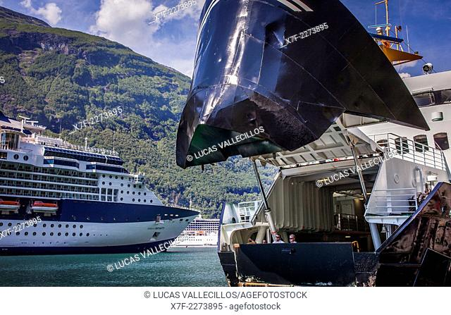 Cruise and ferry in harbour of Geiranger, Geirangerfjord, More og Romsdal, Norway