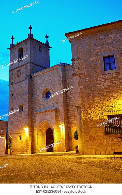 Caceres Concatedral Santa Maria church sunset in Spain Extremadura