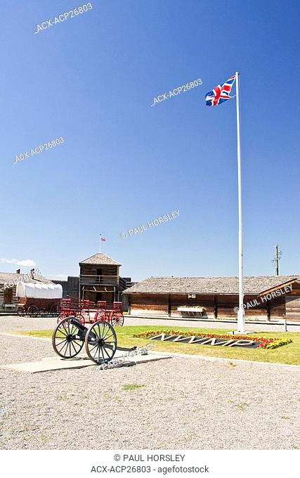 Union Jack flag and cannon at the Museum of the North West Mounted Police, Fort MacLeod, Alberta