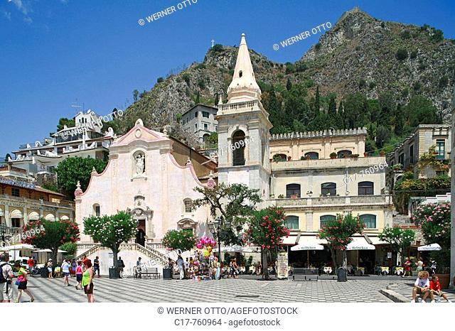 Italien, Sizilien, Insel, Provinz Messina, I-Taormina, Ionisches Meer, Mittelmeer, Corso Umberto, Piazza IX Aprile, Platz des 9