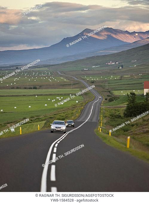 Countryside with road and farms, Eyjafjordur Fjord, Northern Iceland