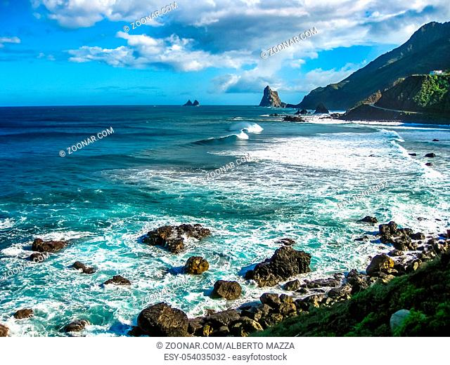 Rock formations and cliffs of the north coast of Tenerife, Benijo Beach, Canary Islands, Spain.
