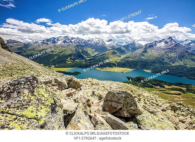 Top view of Lake Sils with snowy peaks in background Engadine Canton of Grisons Switzerland Europe