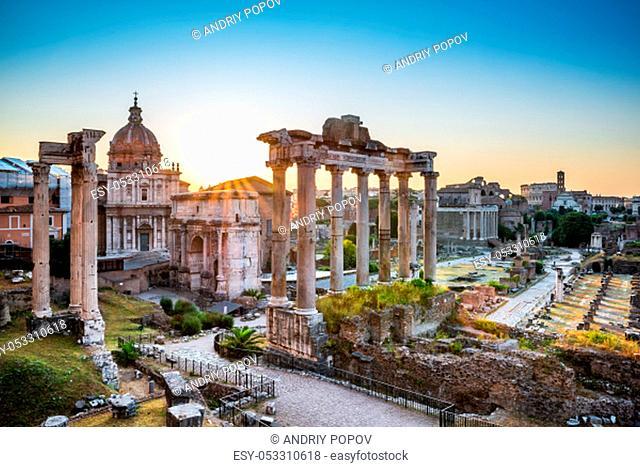 Roman Forum At Sunrise In Rome, Italy