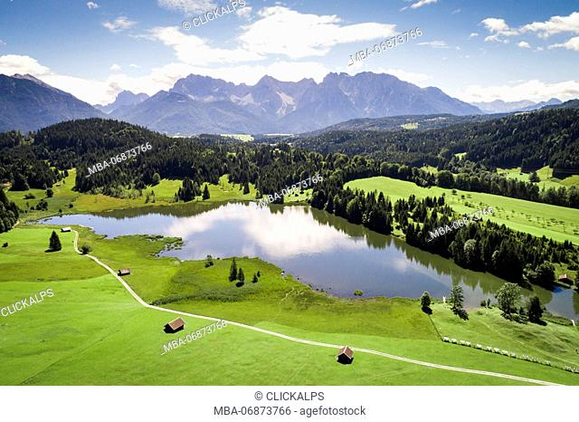 Aerial view of Geroldsee, Garmisch-Partenkirchen, Bavarian Alps, Germany