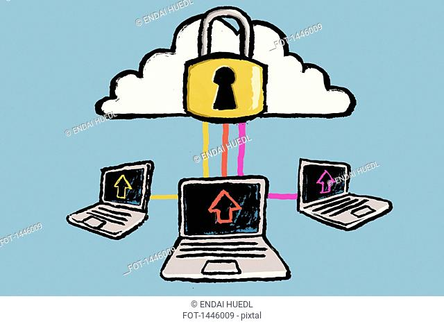 Illustration of laptops connected to cloud against blue background