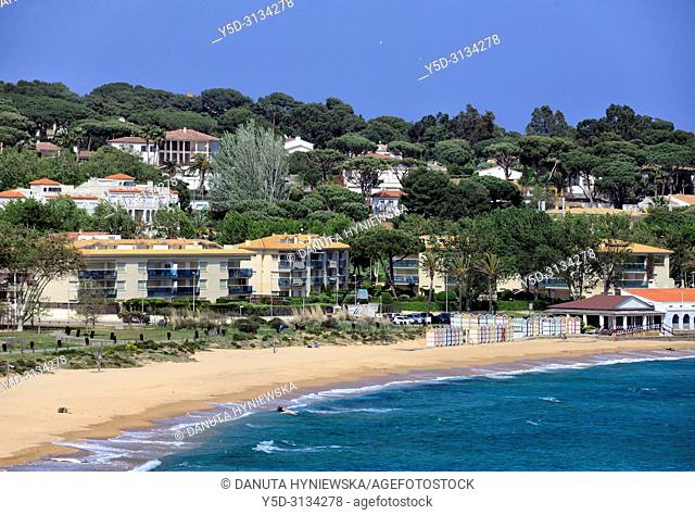 Platja de Sant Pol, Sant Pol sandy beach is a passage between resorts S'Agaro and Sant Feliu de Guixols, Costa Brava, Catalonia, Spain, Europe