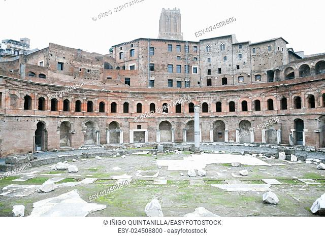ruins of the ancient roman Trajan Market, in Rome, Italy, Europe