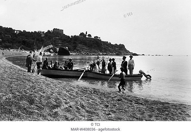 Italy, Basilicata, Maratea, on the beach at the bottom of the stream and marine tower, 1930-40