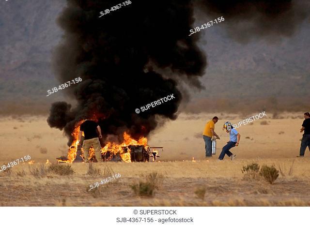 Burning Wreckage of Model Saturn V Rocket