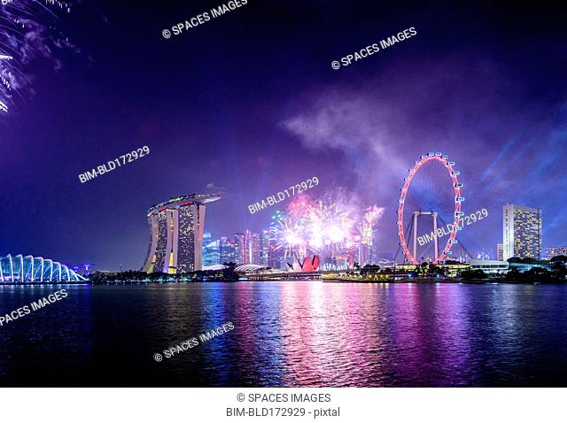 Fireworks over Singapore city skyline, Singapore, Singapore