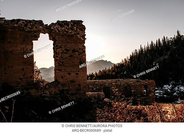 Desolate landscape with ruins of ghost town, Steamboat, Colorado, USA