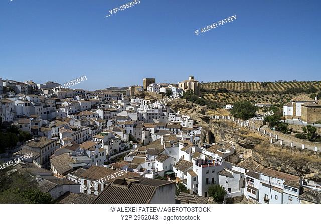Overview of Setenil de las Bodegas, one of small white towns in Andalusia, Spain