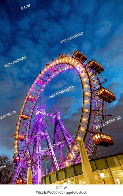 Austria, Vienna, ferris wheel on Prater at blue hour