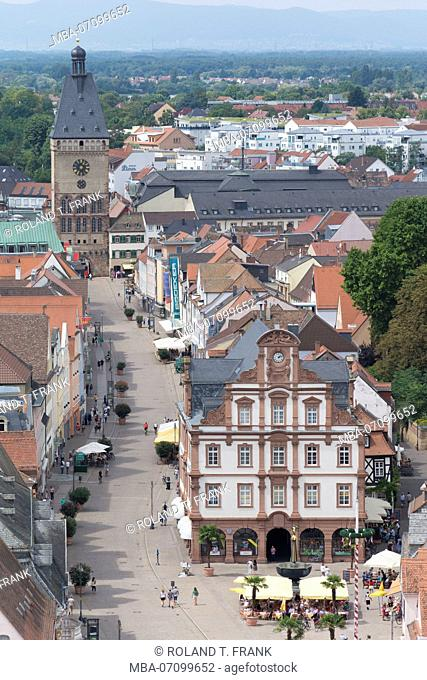 Speyer, view from the cathedral to the Maximilianstraße with 'Das Altpörtel' western city gate Speyers, in front of it on the right side the 'Alte Münze'