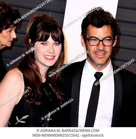 Vanity Fair Oscar Party at Wallis Annenberg Center for Performing Arts - Arrivals Featuring: Zooey Deschanel, Jacob Pechenik Where: Los Angeles, California