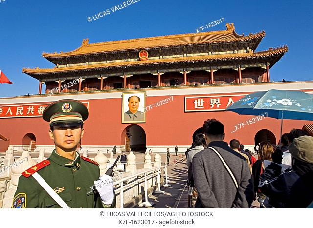 Gate of Heavenly Peace with Portrait of Mao Ze Dong , in Tiananmen Square, Beijing, China