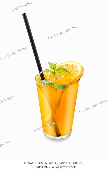 Orange drink isolated on white background. For fast food restaurant design or fast food menu