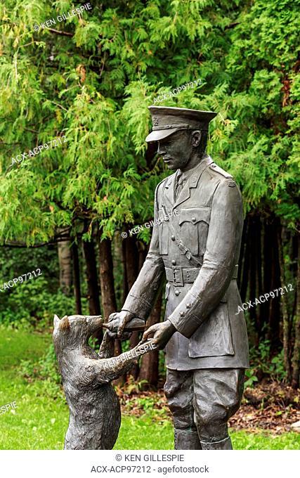 Bronze statue of Winnie the Pooh Bear with Lieutenant Harry Colebourn, Assiniboine Park, Winnipeg, Manitoba, Canada