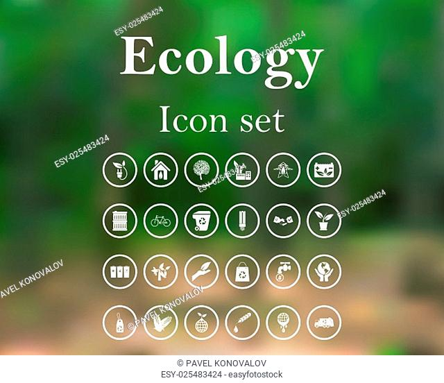 Ecology icon set. EPS 10 vector illustration with mesh and without transparency