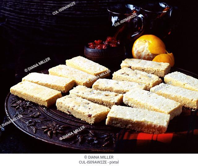 Selection of all butter Scottish shortbread on wooden platter