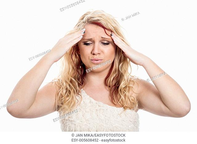 Young blond woman with headache, isolated on white background