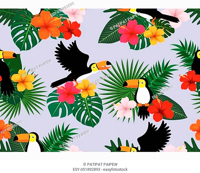 Seamless pattern of tropical floral with leaves and toucan bird on nature background - Vector illustration